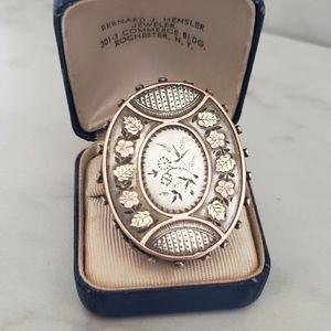 Huge Victorian Conversion Ring Sterling & 10k